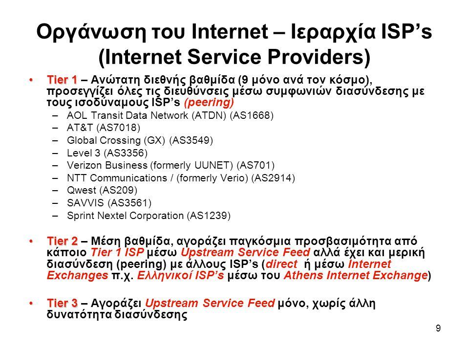 9 Οργάνωση του Internet – Ιεραρχία ISP's (Internet Service Providers) Tier 1Tier 1 – Ανώτατη διεθνής βαθμίδα (9 μόνο ανά τον κόσμο), προσεγγίζει όλες τις διευθύνσεις μέσω συμφωνιών διασύνδεσης με τους ισοδύναμους ISP's (peering) –AOL Transit Data Network (ATDN) (AS1668) –AT&T (AS7018) –Global Crossing (GX) (AS3549) –Level 3 (AS3356) –Verizon Business (formerly UUNET) (AS701) –NTT Communications / (formerly Verio) (AS2914) –Qwest (AS209) –SAVVIS (AS3561) –Sprint Nextel Corporation (AS1239) Tier 2Tier 2 – Μέση βαθμίδα, αγοράζει παγκόσμια προσβασιμότητα από κάποιο Tier 1 ISP μέσω Upstream Service Feed αλλά έχει και μερική διασύνδεση (peering) με άλλους ISP's (direct ή μέσω Internet Exchanges π.χ.