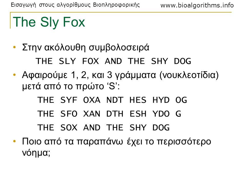 Εισαγωγή στους αλγορίθμους Βιοπληροφορικής www.bioalgorithms.info The Sly Fox Στην ακόλουθη συμβολοσειρά THE SLY FOX AND THE SHY DOG Αφαιρούμε 1, 2, κ
