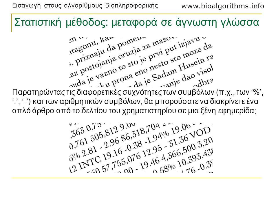 Εισαγωγή στους αλγορίθμους Βιοπληροφορικής www.bioalgorithms.info Παρατηρώντας τις διαφορετικές συχνότητες των συμβόλων (π.χ., των '%', '.', '-') και