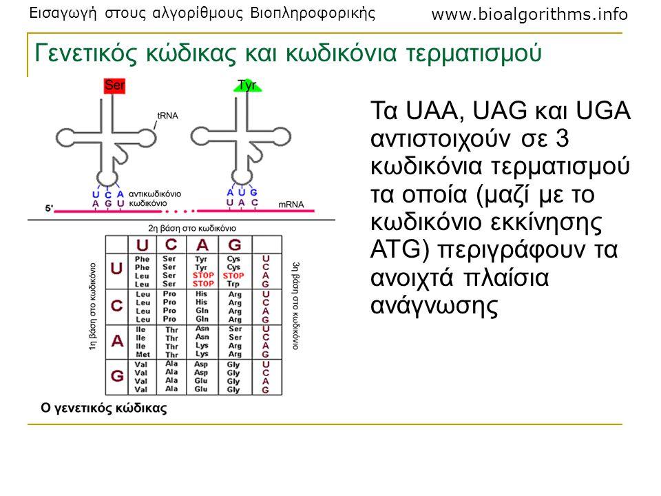 Εισαγωγή στους αλγορίθμους Βιοπληροφορικής www.bioalgorithms.info Τα UAA, UAG και UGA αντιστοιχούν σε 3 κωδικόνια τερματισμού τα οποία (μαζί με το κωδ