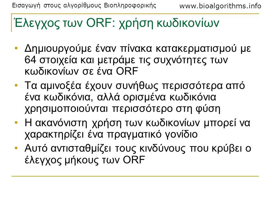 Εισαγωγή στους αλγορίθμους Βιοπληροφορικής www.bioalgorithms.info Έλεγχος των ORF: χρήση κωδικονίων Δημιουργούμε έναν πίνακα κατακερματισμού με 64 στο