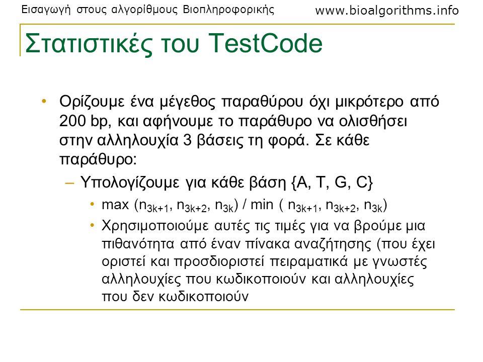 Εισαγωγή στους αλγορίθμους Βιοπληροφορικής www.bioalgorithms.info Στατιστικές του TestCode Ορίζουμε ένα μέγεθος παραθύρου όχι μικρότερο από 200 bp, κα