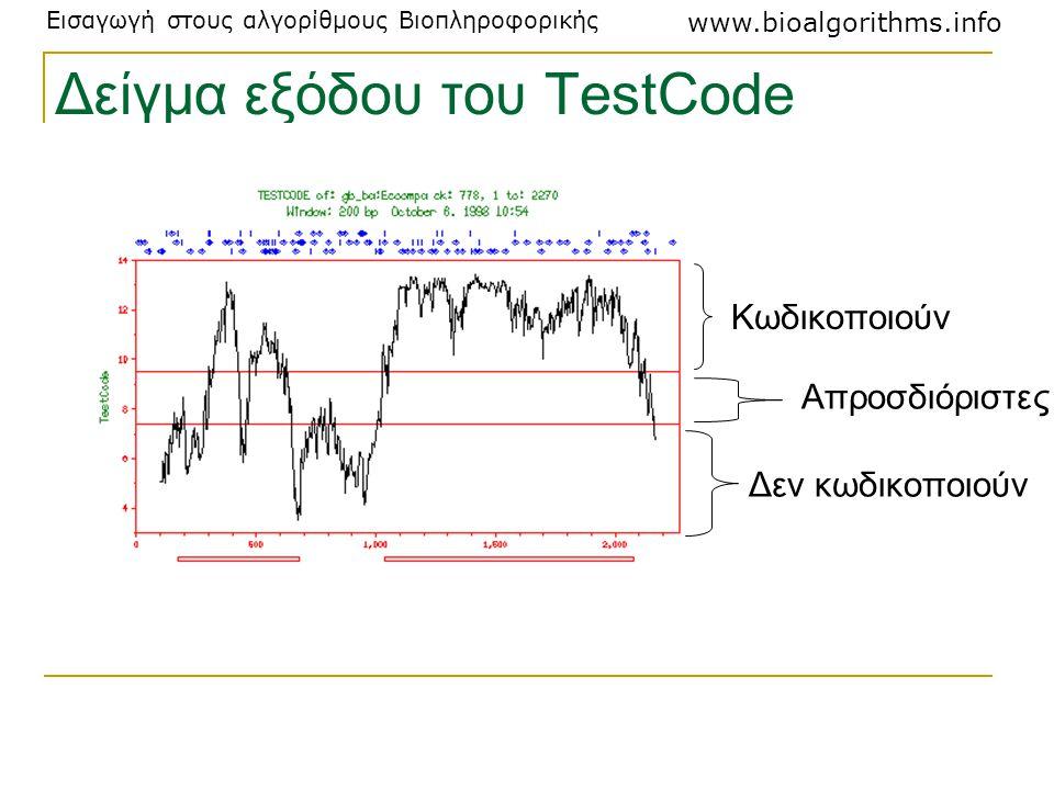 Εισαγωγή στους αλγορίθμους Βιοπληροφορικής www.bioalgorithms.info Δείγμα εξόδου του TestCode Κωδικοποιούν Απροσδιόριστες Δεν κωδικοποιούν
