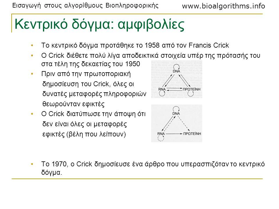 Εισαγωγή στους αλγορίθμους Βιοπληροφορικής www.bioalgorithms.info Το κεντρικό δόγμα προτάθηκε το 1958 από τον Francis Crick Ο Crick διέθετε πολύ λίγα