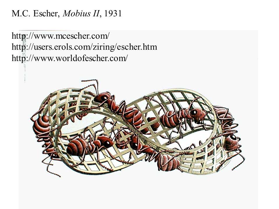 M.C. Escher, Mobius II, 1931 http://www.mcescher.com/ http://users.erols.com/ziring/escher.htm http://www.worldofescher.com/