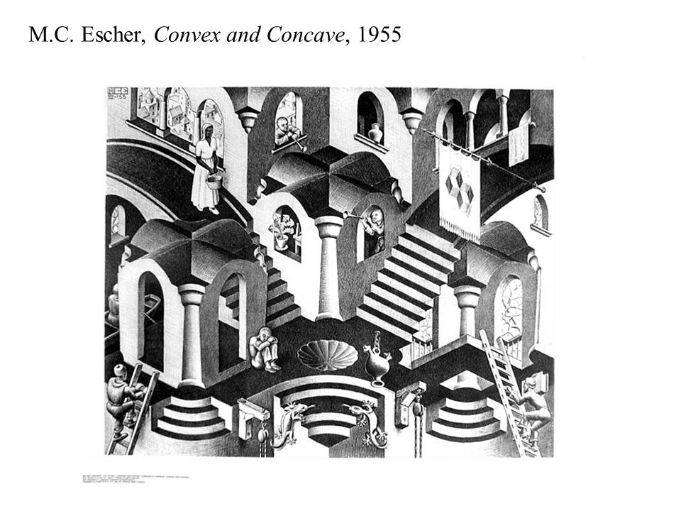 M.C. Escher, Convex and Concave, 1955