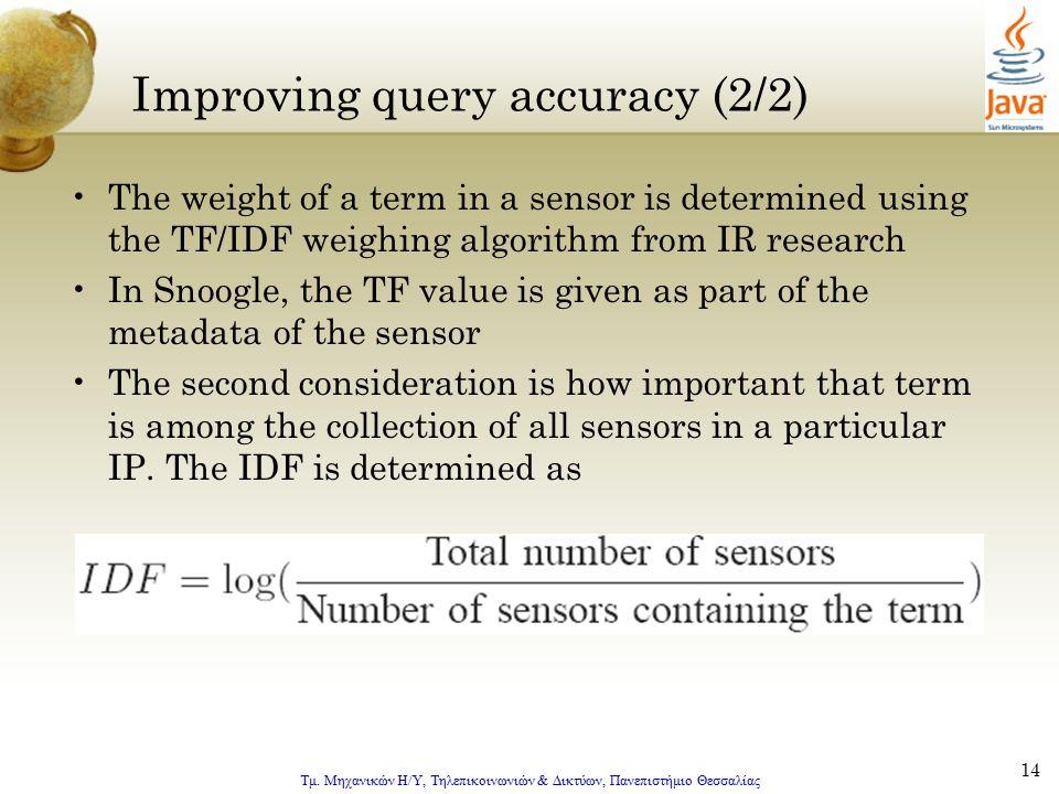 Τμ. Μηχανικών Η/Υ, Τηλεπικοινωνιών & Δικτύων, Πανεπιστήμιο Θεσσαλίας 14 Improving query accuracy (2/2) The weight of a term in a sensor is determined