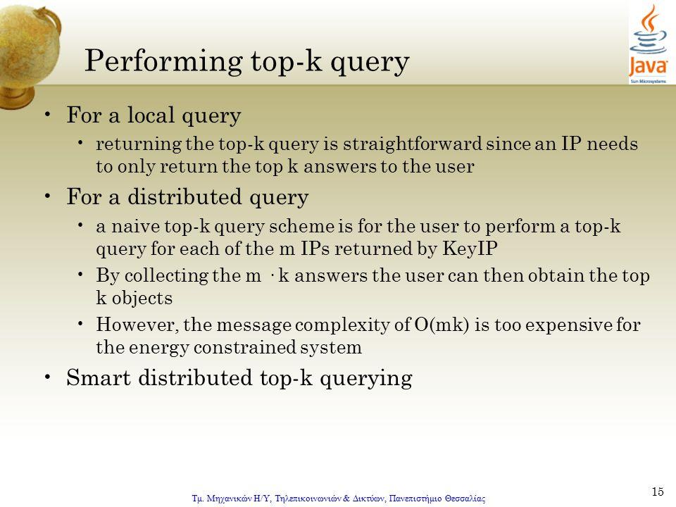 Τμ. Μηχανικών Η/Υ, Τηλεπικοινωνιών & Δικτύων, Πανεπιστήμιο Θεσσαλίας 15 Performing top-k query For a local query returning the top-k query is straight