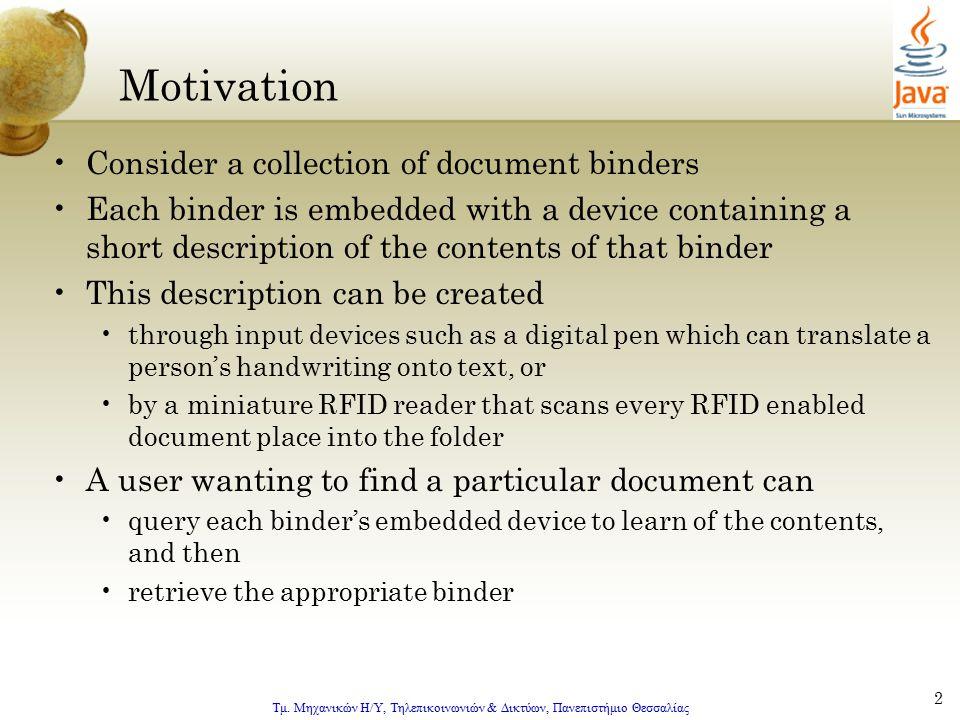 Τμ. Μηχανικών Η/Υ, Τηλεπικοινωνιών & Δικτύων, Πανεπιστήμιο Θεσσαλίας 2 Motivation Consider a collection of document binders Each binder is embedded wi