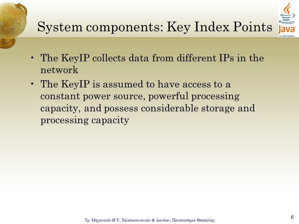 Τμ. Μηχανικών Η/Υ, Τηλεπικοινωνιών & Δικτύων, Πανεπιστήμιο Θεσσαλίας 6 System components: Key Index Points The KeyIP collects data from different IPs