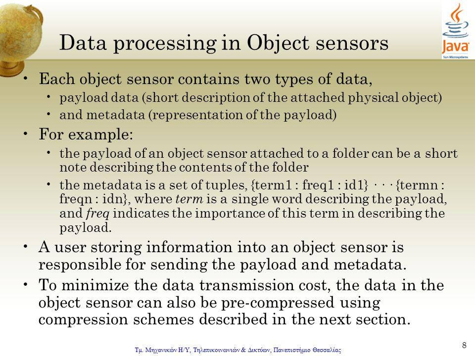 Τμ. Μηχανικών Η/Υ, Τηλεπικοινωνιών & Δικτύων, Πανεπιστήμιο Θεσσαλίας 8 Data processing in Object sensors Each object sensor contains two types of data