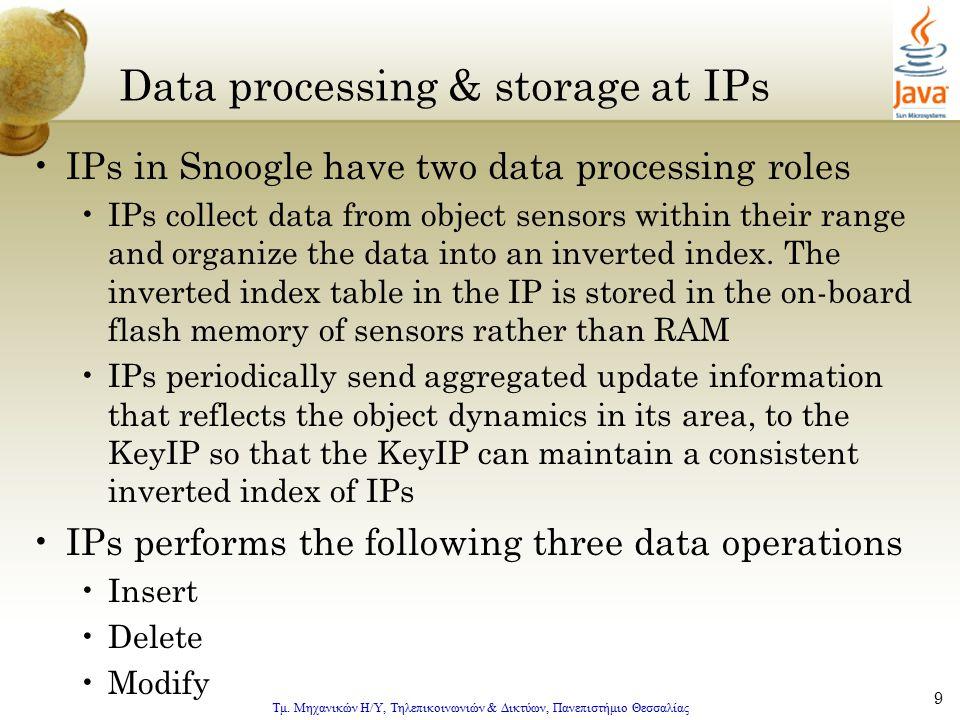 Τμ. Μηχανικών Η/Υ, Τηλεπικοινωνιών & Δικτύων, Πανεπιστήμιο Θεσσαλίας 9 Data processing & storage at IPs IPs in Snoogle have two data processing roles