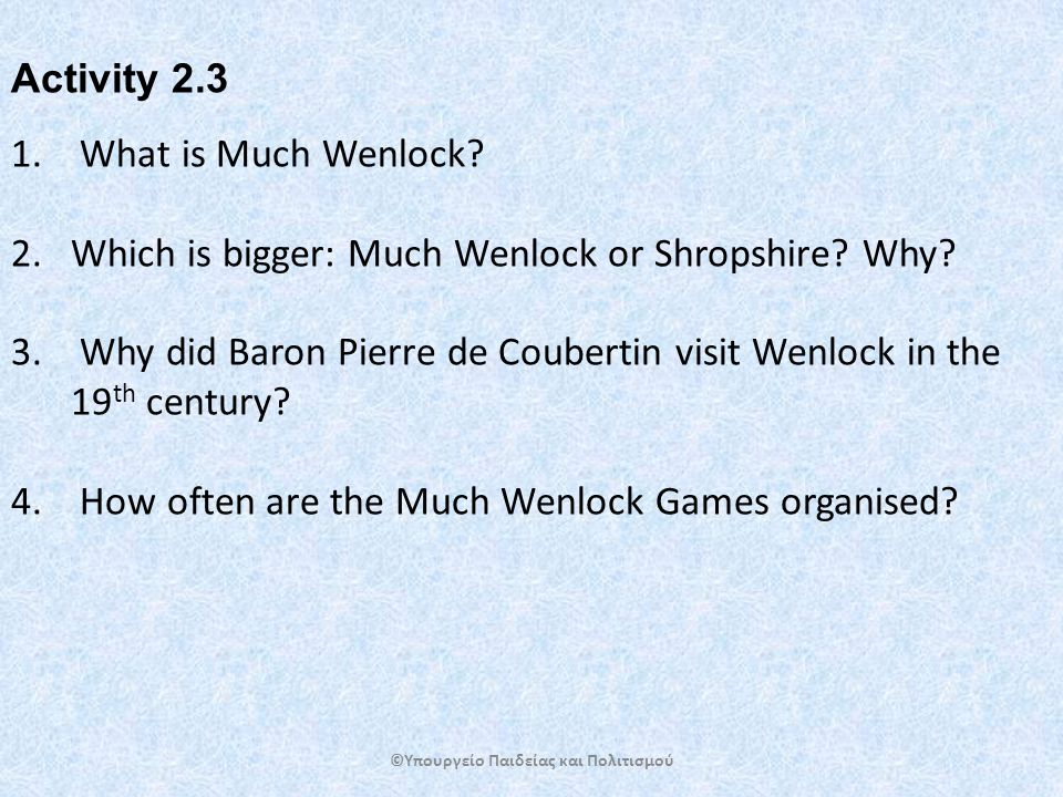 1. What is Much Wenlock. 2.Which is bigger: Much Wenlock or Shropshire.