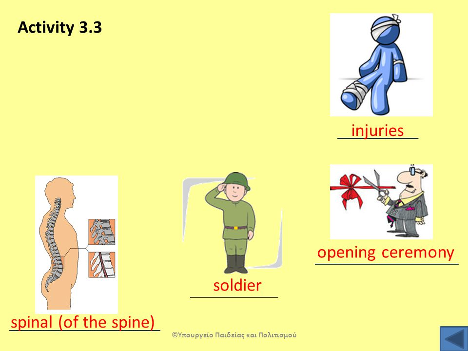 Activity 3.3 injuries opening ceremony soldier spinal (of the spine) ©Υπουργείο Παιδείας και Πολιτισμού