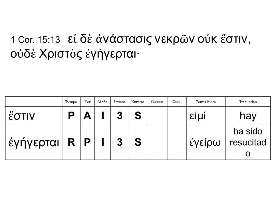 TiempoVozModoPersonaNúmero GéneroCaso Forma léxicaTraducción ἔ στιν PAI3S ε ἰ μί hay ἐ γήγερται RPI3S ἐ γείρω ha sido resucitad o 1 Cor.