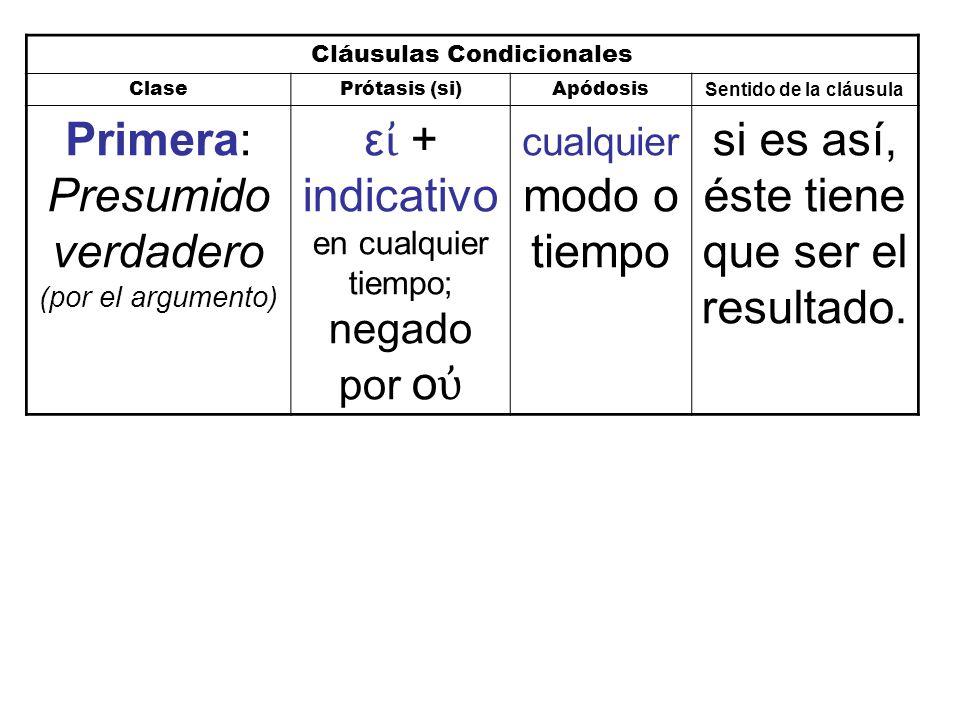 Cláusulas Condicionales ClasePrótasis (si)Apódosis Sentido de la cláusula Primera: Presumido verdadero (por el argumento) ε ἰ + indicativo en cualquier tiempo; negado por ο ὐ cualquier modo o tiempo si es así, éste tiene que ser el resultado.
