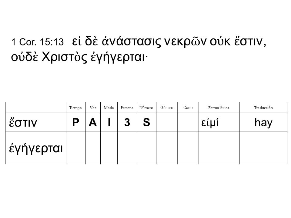 TiempoVozModoPersonaNúmero GéneroCaso Forma léxicaTraducción ἔ στιν PAI3S ε ἰ μί hay ἐ γήγερται 1 Cor.