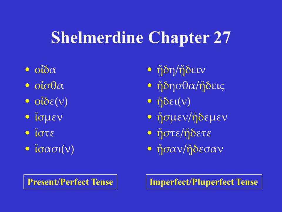 Shelmerdine Chapter 27 οἶδα οἶσθα οἶδε(ν) ἴσμεν ἴστε ἴσασι(ν) ᾔδη/ᾔδειν ᾔδησθα/ᾔδεις ᾔδει(ν) ᾖσμεν/ᾔδεμεν ᾖστε/ᾔδετε ᾖσαν/ᾔδεσαν Present/Perfect TenseImperfect/Pluperfect Tense