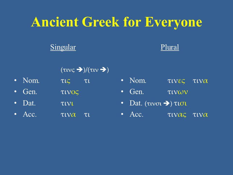 Ancient Greek for Everyone Singular (τινς  )/(τιν  ) Nom.