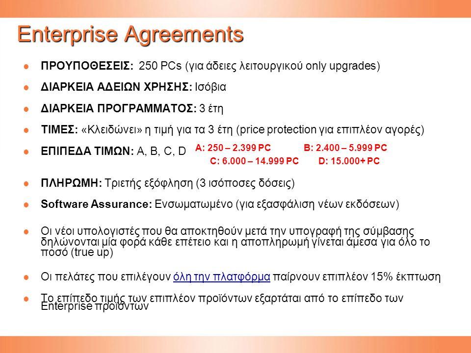 ΠΡΟΥΠΟΘΕΣΕΙΣ: 250 PCs (για άδειες λειτουργικού only upgrades) ΠΡΟΥΠΟΘΕΣΕΙΣ: 250 PCs (για άδειες λειτουργικού only upgrades) ΔΙΑΡΚΕΙΑ ΑΔΕΙΩΝ ΧΡΗΣΗΣ: Ισόβια ΔΙΑΡΚΕΙΑ ΑΔΕΙΩΝ ΧΡΗΣΗΣ: Ισόβια ΔΙΑΡΚΕΙΑ ΠΡΟΓΡΑΜΜΑΤΟΣ: 3 έτη ΔΙΑΡΚΕΙΑ ΠΡΟΓΡΑΜΜΑΤΟΣ: 3 έτη ΤΙΜΕΣ: «Κλειδώνει» η τιμή για τα 3 έτη (price protection για επιπλέον αγορές) ΤΙΜΕΣ: «Κλειδώνει» η τιμή για τα 3 έτη (price protection για επιπλέον αγορές) ΕΠΙΠΕΔΑ ΤΙΜΩΝ: Α, B, C, D ΕΠΙΠΕΔΑ ΤΙΜΩΝ: Α, B, C, D ΠΛΗΡΩΜΗ: Τριετής εξόφληση (3 ισόποσες δόσεις) ΠΛΗΡΩΜΗ: Τριετής εξόφληση (3 ισόποσες δόσεις) Software Assurance: Ενσωματωμένο (για εξασφάλιση νέων εκδόσεων) Software Assurance: Ενσωματωμένο (για εξασφάλιση νέων εκδόσεων) Οι νέοι υπολογιστές που θα αποκτηθούν μετά την υπογραφή της σύμβασης δηλώνονται μία φορά κάθε επέτειο και η αποπληρωμή γίνεται άμεσα για όλο το ποσό (true up) Οι νέοι υπολογιστές που θα αποκτηθούν μετά την υπογραφή της σύμβασης δηλώνονται μία φορά κάθε επέτειο και η αποπληρωμή γίνεται άμεσα για όλο το ποσό (true up) Οι πελάτες που επιλέγουν όλη την πλατφόρμα παίρνουν επιπλέον 15% έκπτωση Οι πελάτες που επιλέγουν όλη την πλατφόρμα παίρνουν επιπλέον 15% έκπτωσηόλη την πλατφόρμαόλη την πλατφόρμα To επίπεδο τιμής των επιπλέον προϊόντων εξαρτάται από το επίπεδο των Enterprise προϊόντων To επίπεδο τιμής των επιπλέον προϊόντων εξαρτάται από το επίπεδο των Enterprise προϊόντων A: 250 – 2.399 PC B: 2.400 – 5.999 PC C: 6.000 – 14.999 PC D: 15.000+ PC Enterprise Agreements