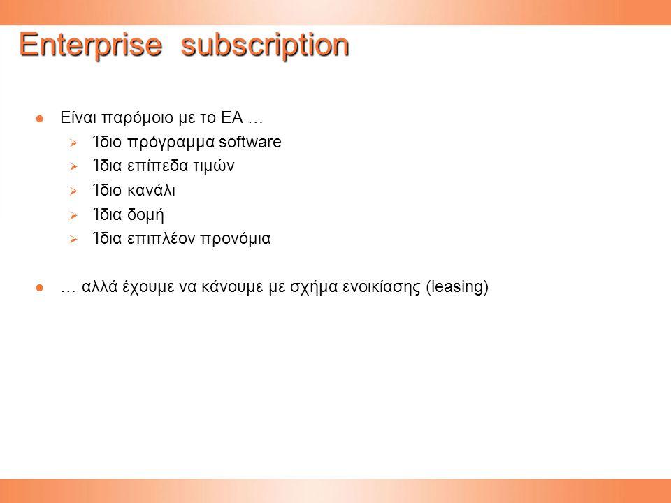 Enterprise subscription Eίναι παρόμοιο με το EA … Eίναι παρόμοιο με το EA …  Ίδιο πρόγραμμα software  Ίδια επίπεδα τιμών  Ίδιο κανάλι  Ίδια δομή  Ίδια επιπλέον προνόμια … αλλά έχουμε να κάνουμε με σχήμα ενοικίασης (leasing) … αλλά έχουμε να κάνουμε με σχήμα ενοικίασης (leasing)