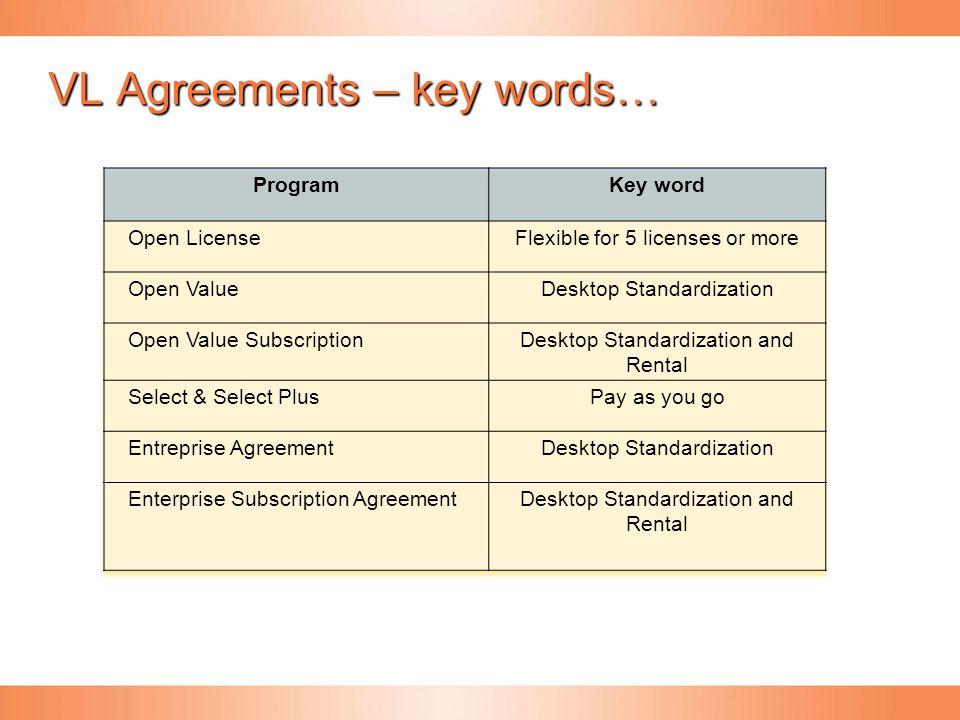 VL Agreements – key words…