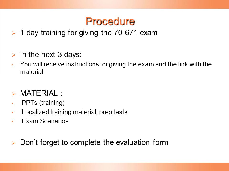 How the Exam works  In English  The test is scenario-based  You will be given a business case (5 business cases) for a specific customer, and there will be 4-8 questions that are based on that business case.