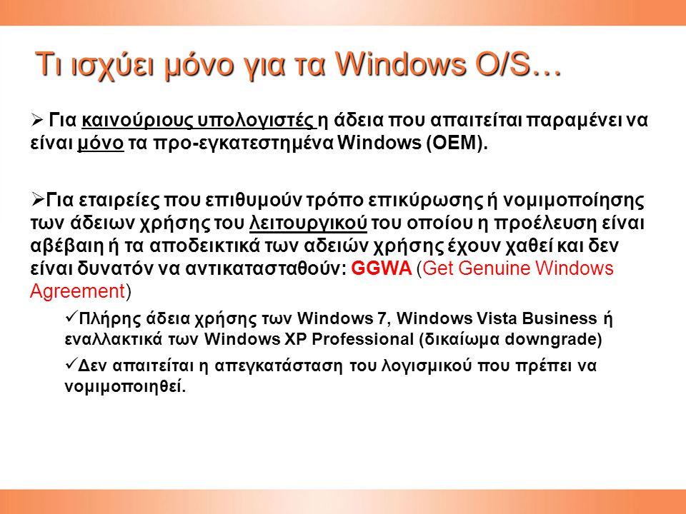 Tι ισχύει μόνο για τα Windows O/S…  Για καινούριους υπολογιστές η άδεια που απαιτείται παραμένει να είναι μόνο τα προ-εγκατεστημένα Windows (OEM).