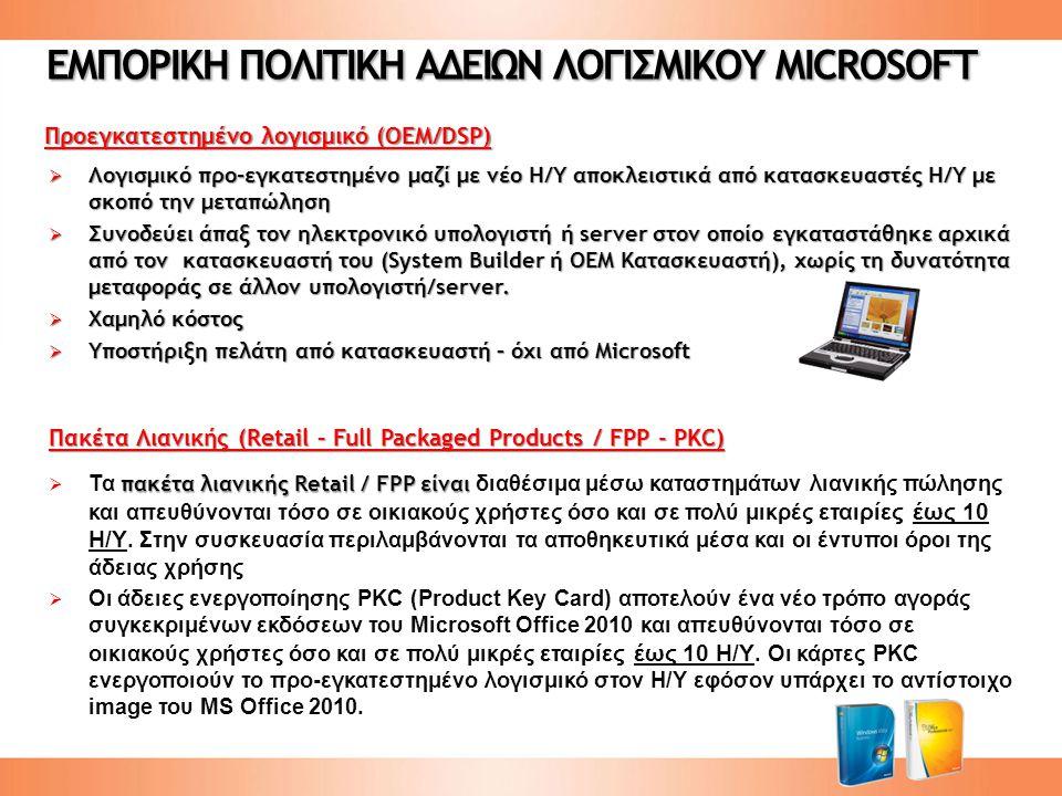 ΕΜΠΟΡΙΚΗ ΠΟΛΙΤΙΚΗ ΑΔΕΙΩΝ ΛΟΓΙΣΜΙΚΟΥ MICROSOFT Προεγκατεστημένο λογισμικό (ΟΕΜ/DSP)  Λογισμικό προ-εγκατεστημένο μαζί με νέο Η/Υ αποκλειστικά από κατασκευαστές Η/Υ με σκοπό την μεταπώληση  Συνοδεύει άπαξ τον ηλεκτρονικό υπολογιστή ή server στον οποίο εγκαταστάθηκε αρχικά από τον κατασκευαστή του (System Builder ή OEM Κατασκευαστή), χωρίς τη δυνατότητα μεταφοράς σε άλλον υπολογιστή/server.
