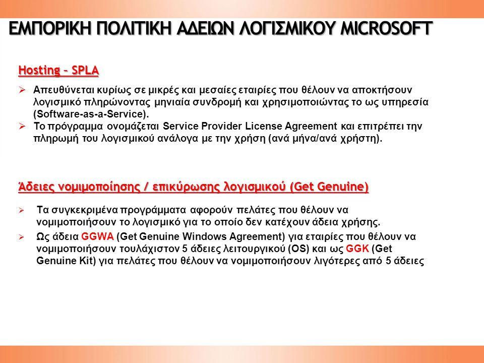 Άδειες νομιμοποίησης / επικύρωσης λογισμικού (Get Genuine)  Τα συγκεκριμένα προγράμματα αφορούν πελάτες που θέλουν να νομιμοποιήσουν το λογισμικό για το οποίο δεν κατέχουν άδεια χρήσης.