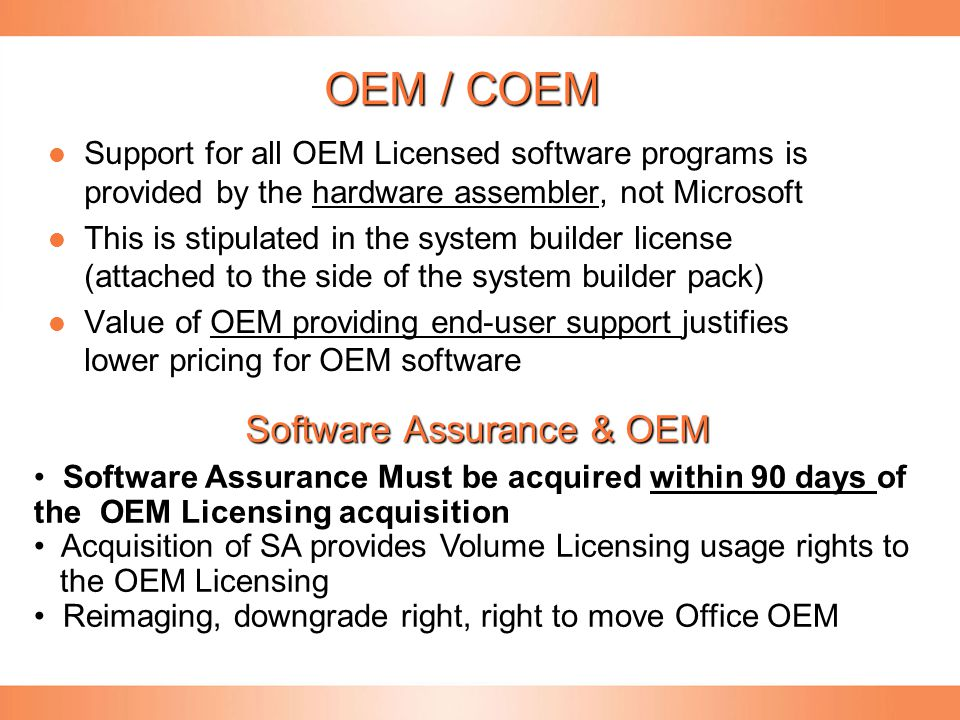OEM / COEM Support for all OEM Licensed software programs is provided by the hardware assembler, not Microsoft Support for all OEM Licensed software p