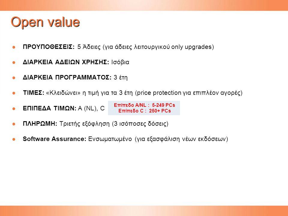 Open value ΠΡΟΥΠΟΘΕΣΕΙΣ: 5 Άδειες (για άδειες λειτουργικού only upgrades) ΠΡΟΥΠΟΘΕΣΕΙΣ: 5 Άδειες (για άδειες λειτουργικού only upgrades) ΔΙΑΡΚΕΙΑ ΑΔΕΙΩΝ ΧΡΗΣΗΣ: Ισόβια ΔΙΑΡΚΕΙΑ ΑΔΕΙΩΝ ΧΡΗΣΗΣ: Ισόβια ΔΙΑΡΚΕΙΑ ΠΡΟΓΡΑΜΜΑΤΟΣ: 3 έτη ΔΙΑΡΚΕΙΑ ΠΡΟΓΡΑΜΜΑΤΟΣ: 3 έτη ΤΙΜΕΣ: «Κλειδώνει» η τιμή για τα 3 έτη (price protection για επιπλέον αγορές) ΤΙΜΕΣ: «Κλειδώνει» η τιμή για τα 3 έτη (price protection για επιπλέον αγορές) ΕΠΙΠΕΔΑ ΤΙΜΩΝ: Α (NL), C ΕΠΙΠΕΔΑ ΤΙΜΩΝ: Α (NL), C ΠΛΗΡΩΜΗ: Τριετής εξόφληση (3 ισόποσες δόσεις) ΠΛΗΡΩΜΗ: Τριετής εξόφληση (3 ισόποσες δόσεις) Software Assurance: Ενσωματωμένο (για εξασφάλιση νέων εκδόσεων) Software Assurance: Ενσωματωμένο (για εξασφάλιση νέων εκδόσεων) Επίπεδο A/NL : 5-249 PCs Επίπεδο C : 250+ PCs