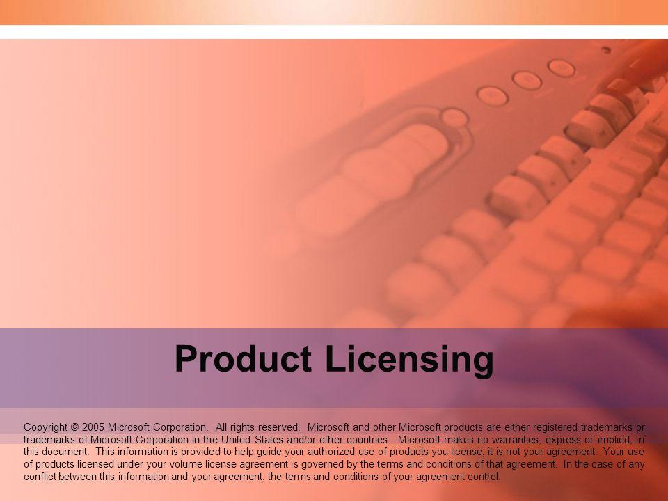 Volume Licensing Copyright © 2005 Microsoft Corporation.