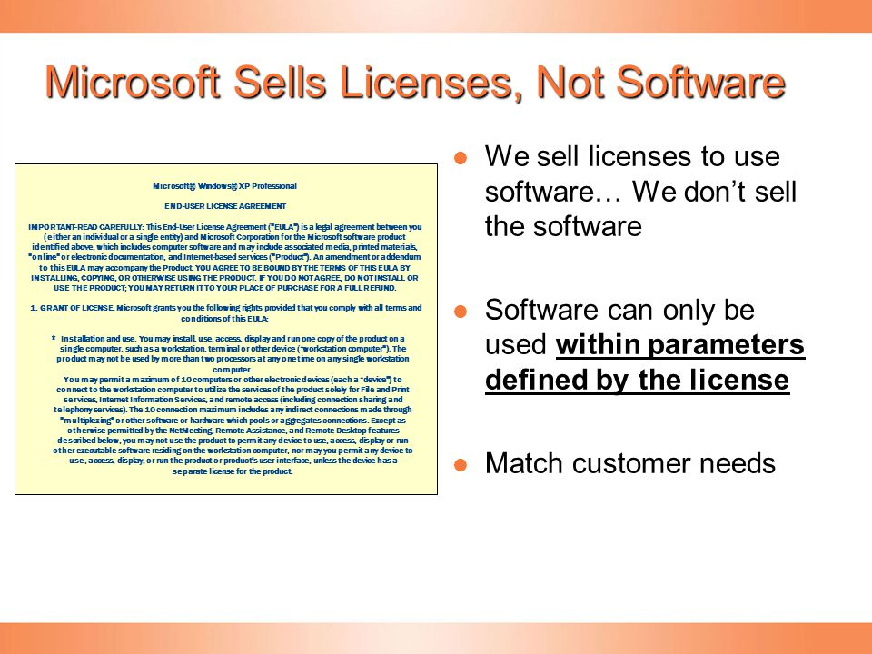 Centralized-Decentralized Purchasing Volume Licensing program Customer need Agreement for one company in one region Agreement for multiple companies in one region Agreement for multiple companies across regions Open License –– Open Value – Select Plus Enterprise Agreement Lead customer = Company signing the VL agreement.