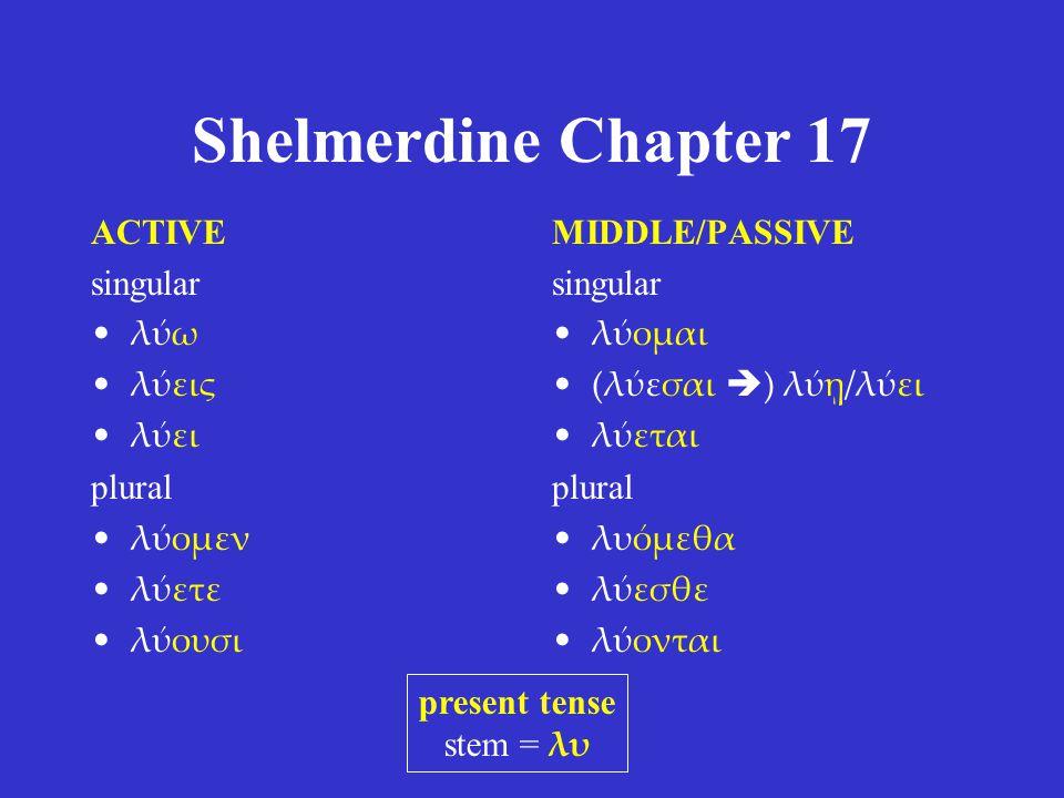 Shelmerdine Chapter 17 ACTIVE singular λύω λύεις λύει plural λύομεν λύετε λύουσι MIDDLE/PASSIVE singular λύομαι (λύεσαι  ) λύῃ/λύει λύεται plural λυόμεθα λύεσθε λύονται present tense stem = λυ