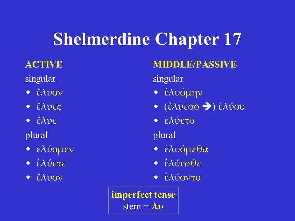 Shelmerdine Chapter 17 ACTIVE singular ἔλυον ἔλυες ἔλυε plural ἐλύομεν ἐλύετε ἔλυον MIDDLE/PASSIVE singular ἐλυόμην (ἐλύεσο  ) ἐλύου ἐλύετο plural ἐλυόμεθα ἐλύεσθε ἐλύοντο imperfect tense stem = λυ