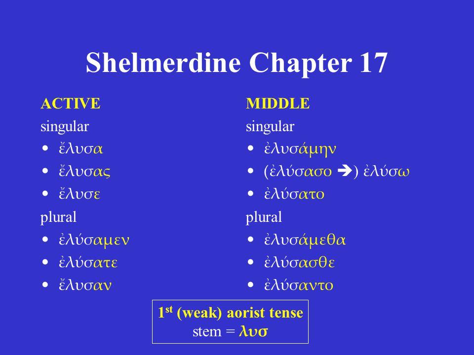 Shelmerdine Chapter 17 ACTIVE singular ἔλυσα ἔλυσας ἔλυσε plural ἐλύσαμεν ἐλύσατε ἔλυσαν MIDDLE singular ἐλυσάμην (ἐλύσασο  ) ἐλύσω ἐλύσατο plural ἐλυσάμεθα ἐλύσασθε ἐλύσαντο 1 st (weak) aorist tense stem = λυσ