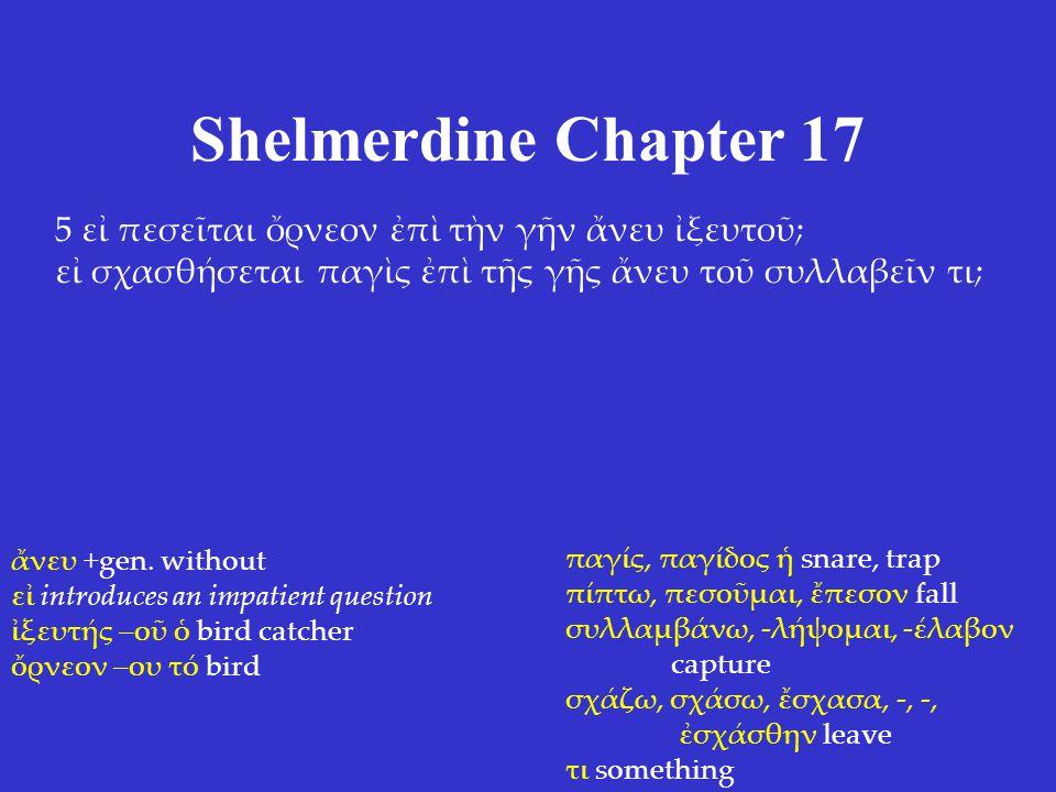 Shelmerdine Chapter 17 5 εἰ πεσεῖται ὄρνεον ἐπὶ τὴν γῆν ἄνευ ἰξευτοῦ; εἰ σχασθήσεται παγὶς ἐπὶ τῆς γῆς ἄνευ τοῦ συλλαβεῖν τι; ἄνευ +gen.