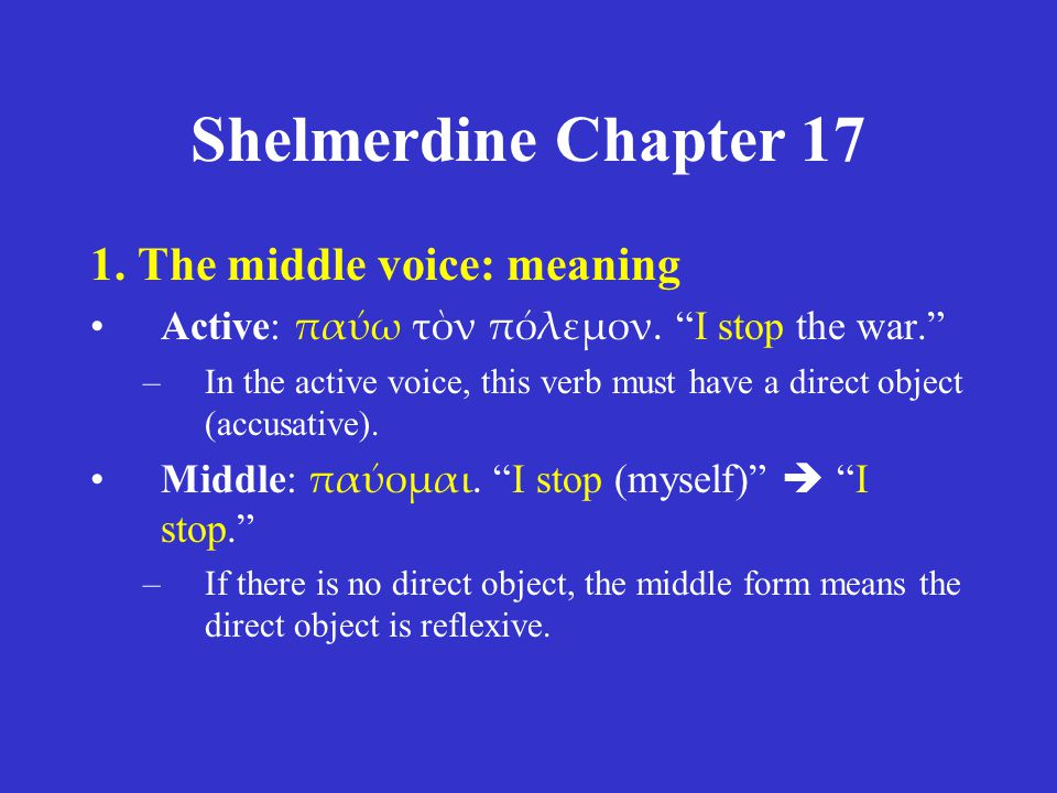 Shelmerdine Chapter 17 1.The middle voice: meaning 2.The middle voice: formation 3.Review of middle future forms 4.Some uses of the accusative 5.Time expressions