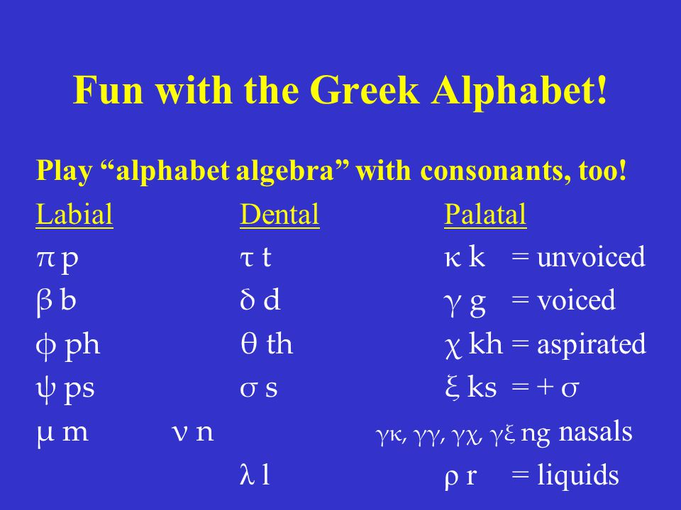 Fun with the Greek Alphabet. Play alphabet algebra with consonants, too.