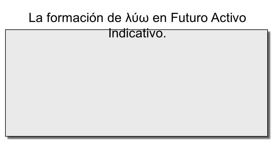  raíz La formación de λύω en Futuro Activo Indicativo. λυ