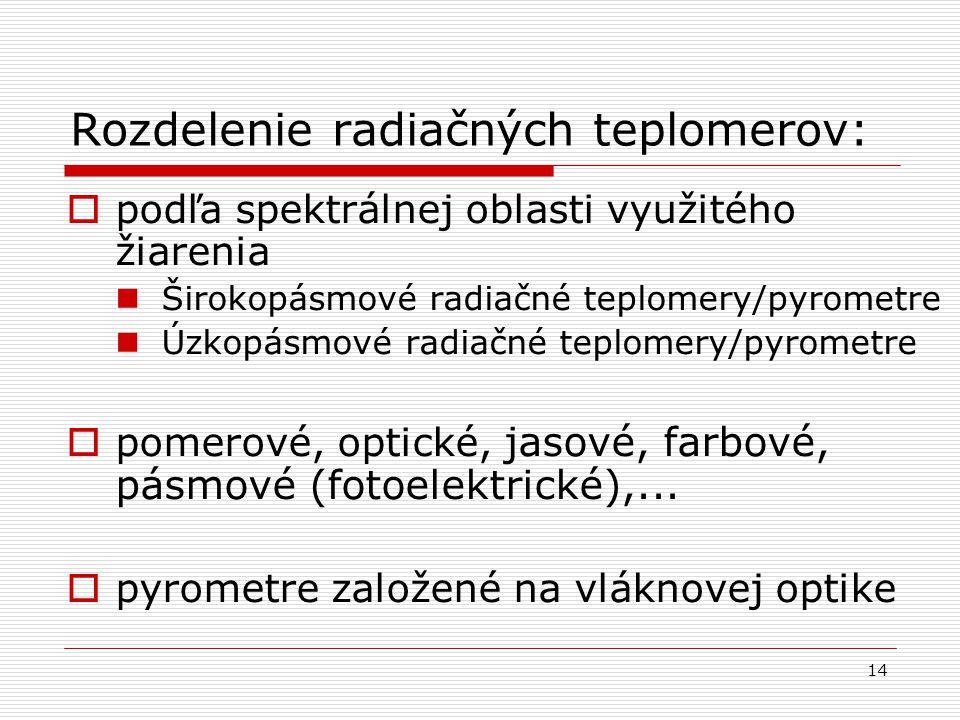 14 Rozdelenie radiačných teplomerov:  podľa spektrálnej oblasti využitého žiarenia Širokopásmové radiačné teplomery/pyrometre Úzkopásmové radiačné te