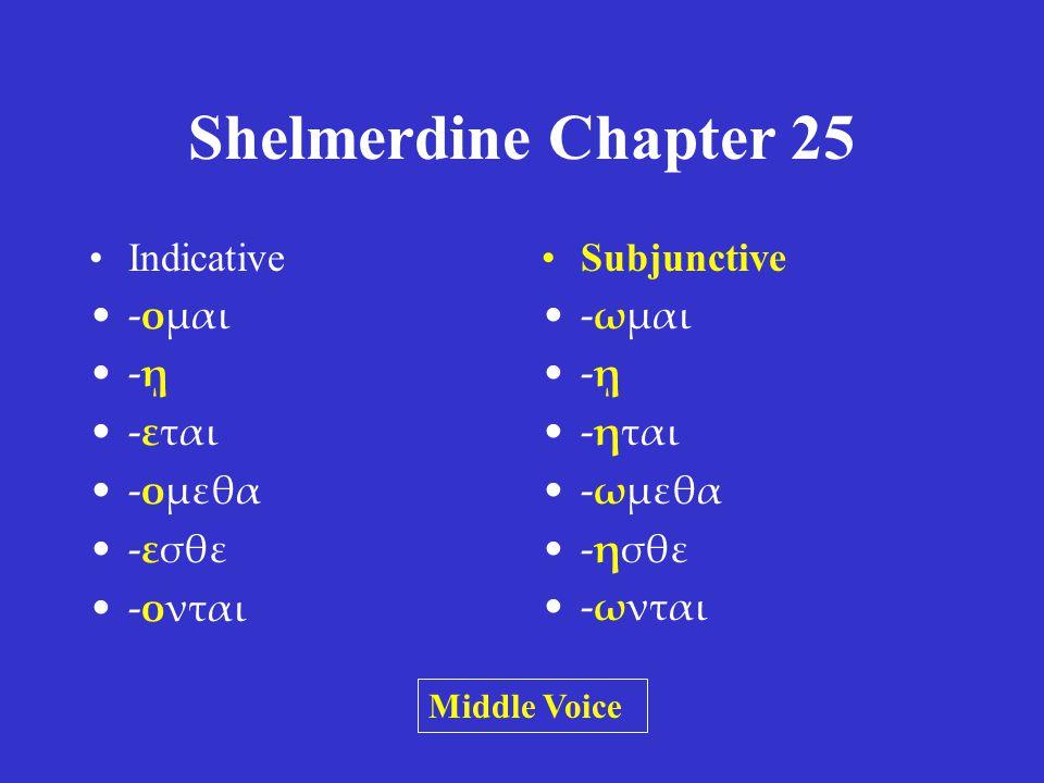 Shelmerdine Chapter 25 Indicative -ω -εις -ει -ομεν -ετε -ουσι(ν) Subjunctive -ω -ῃς -ῃ -ωμεν -ητε -ωσι(ν) Active Voice