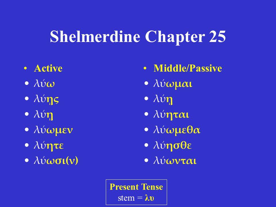 Shelmerdine Chapter 25 Indicative -ομαι -ῃ -εται -ομεθα -εσθε -ονται Subjunctive -ωμαι -ῃ -ηται -ωμεθα -ησθε -ωνται Middle Voice