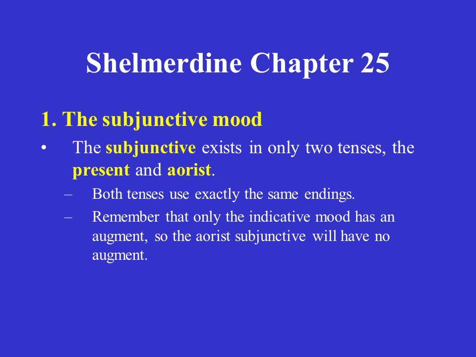 Shelmerdine Chapter 25 Active λύω λύῃς λύῃ λύωμεν λύητε λύωσι(ν) Middle/Passive λύωμαι λύῃ λύηται λύωμεθα λύησθε λύωνται Present Tense stem = λυ