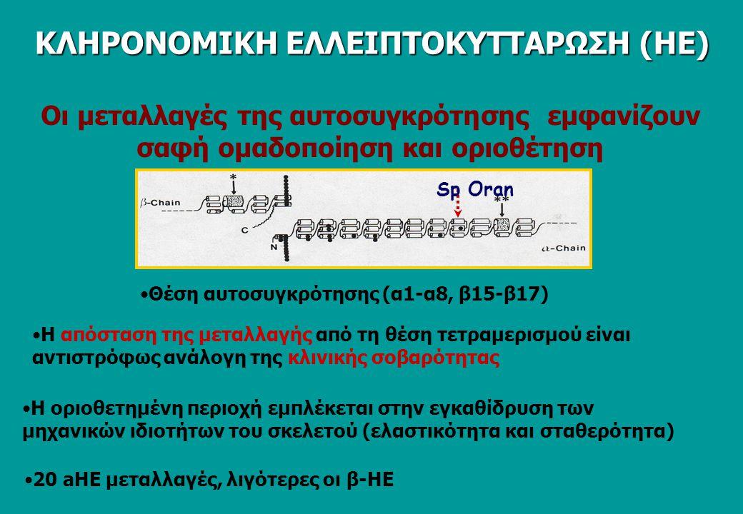 Ο βαθμός της διατάραξης της αυτοσυγκρότησης της Sp είναι ανάλογος της κλινικής σοβαρότητας της ΗΕ SpT SpD HE C C C ΚΛΗΡΟΝΟΜΙΚΗ ΕΛΛΕΙΠΤΟΚΥΤΤΑΡΩΣΗ (ΗΕ)