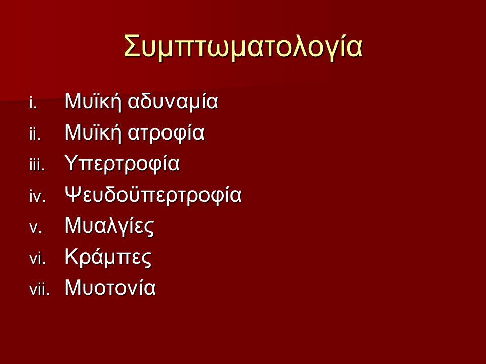 Συμπτωματολογία i. Μυϊκή αδυναμία ii. Μυϊκή ατροφία iii. Υπερτροφία iv. Ψευδοϋπερτροφία v. Μυαλγίες vi. Κράμπες vii. Μυοτονία