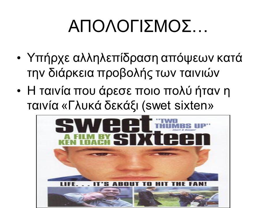 ΑΠΟΛΟΓΙΣΜΟΣ… Υπήρχε αλληλεπίδραση απόψεων κατά την διάρκεια προβολής των ταινιών Η ταινία που άρεσε ποιο πολύ ήταν η ταινία «Γλυκά δεκάξι (swet sixten»