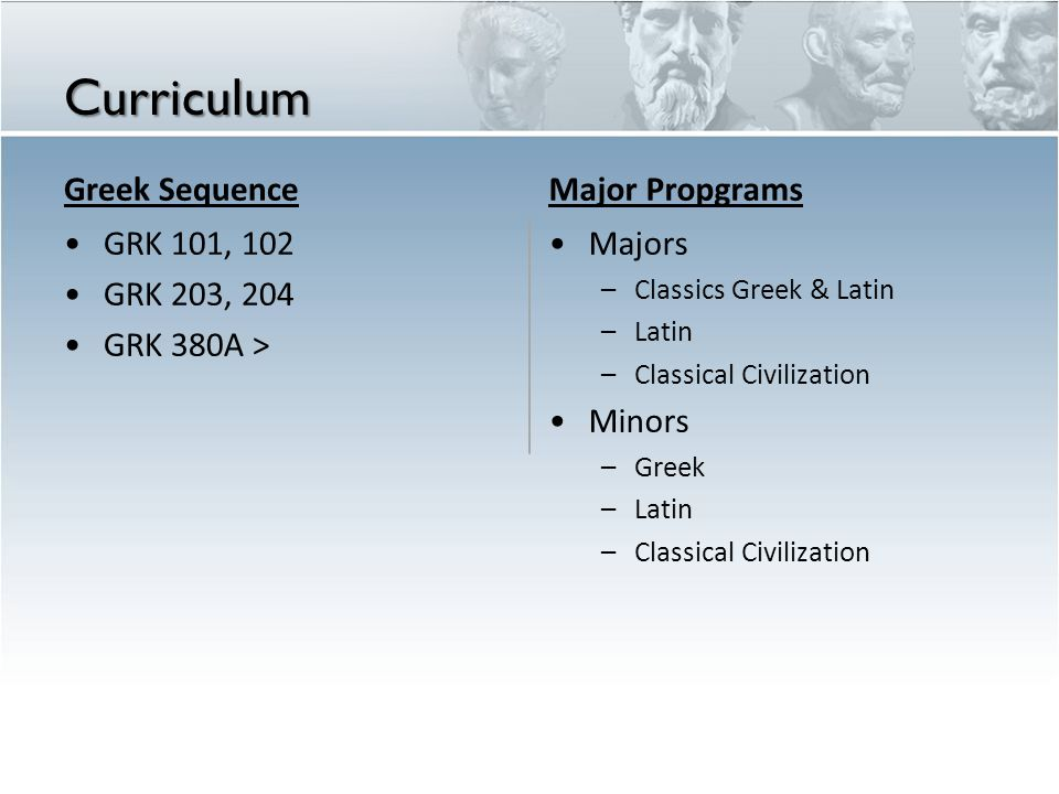 Curriculum Greek Sequence GRK 101, 102 GRK 203, 204 GRK 380A > Major Propgrams Majors – Classics Greek & Latin – Latin – Classical Civilization Minors
