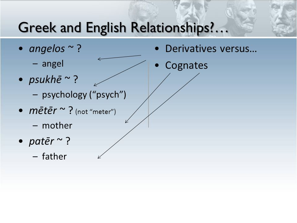 "Greek and English Relationships?… angelos ~ ? –angel psukhē ~ ? –psychology (""psych"") mētēr ~ ? (not ""meter"") –mother patēr ~ ? –father Derivatives ve"